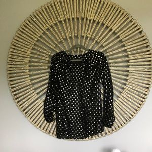 Black sheer top with gold dotted pattern, size S